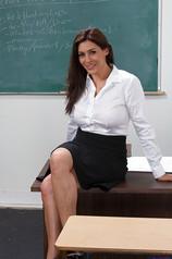 Smiley Brunette Teacher With Gorgeous Curves
