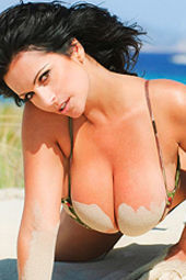 Denise Milani Busting Out Of Her Camouflage Bikini