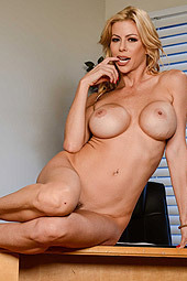 Busty Milf Babe Alexis Fawx Undressing On A Desk