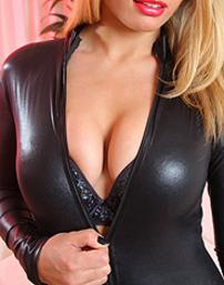 Blonde Dani In A Black Leather Suit
